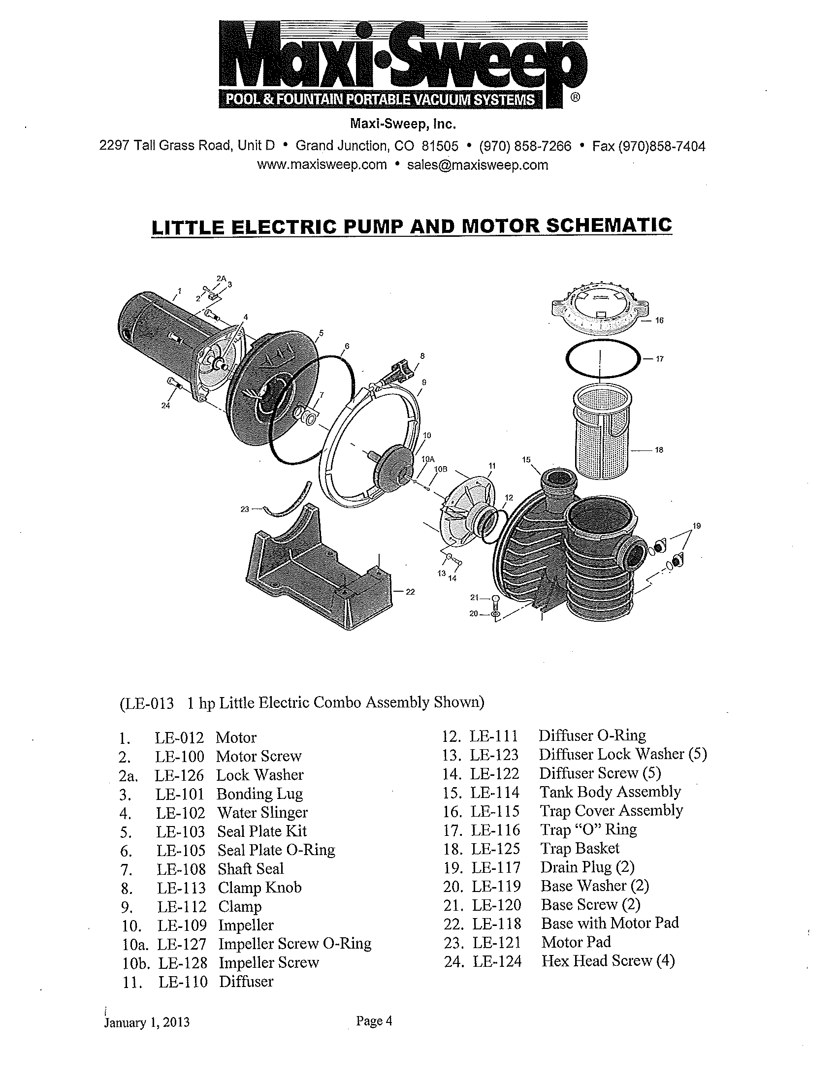 Little Electric Pump Amp Parts Maxi Sweep Inc
